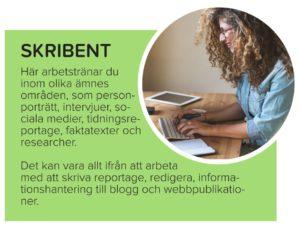 Faktaruta om yrket skribent (texten finns i den löpande texten på sidan)