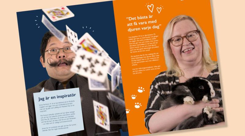 Bild på ett uppslag i tidningen som visar Jonas som trollar och Lisa som är djurskötare
