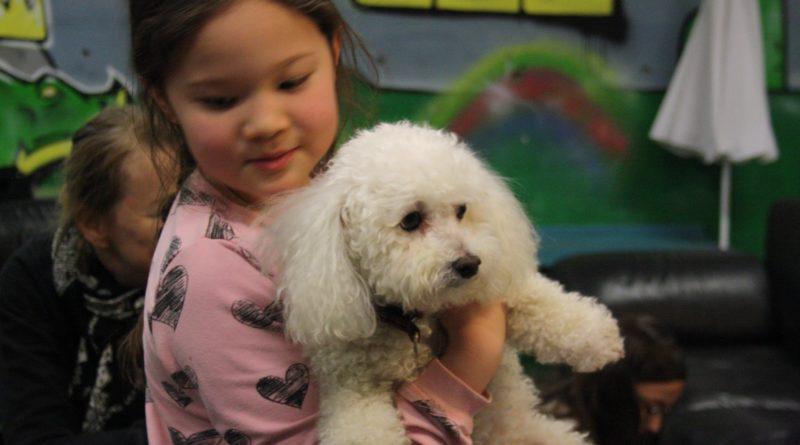 Foto på flicka som håller en liten hund i famnen