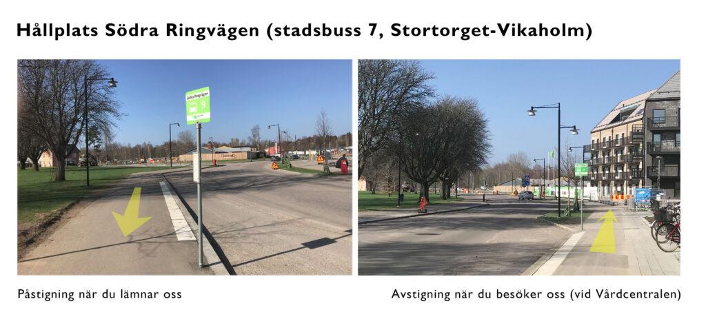 Foto på busshållplatser Södra Ringvägen