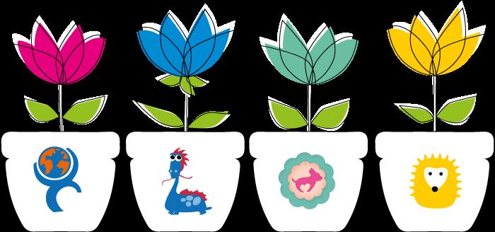 Bild på fyra krukor med blommor föreställande våra fyra organisationer